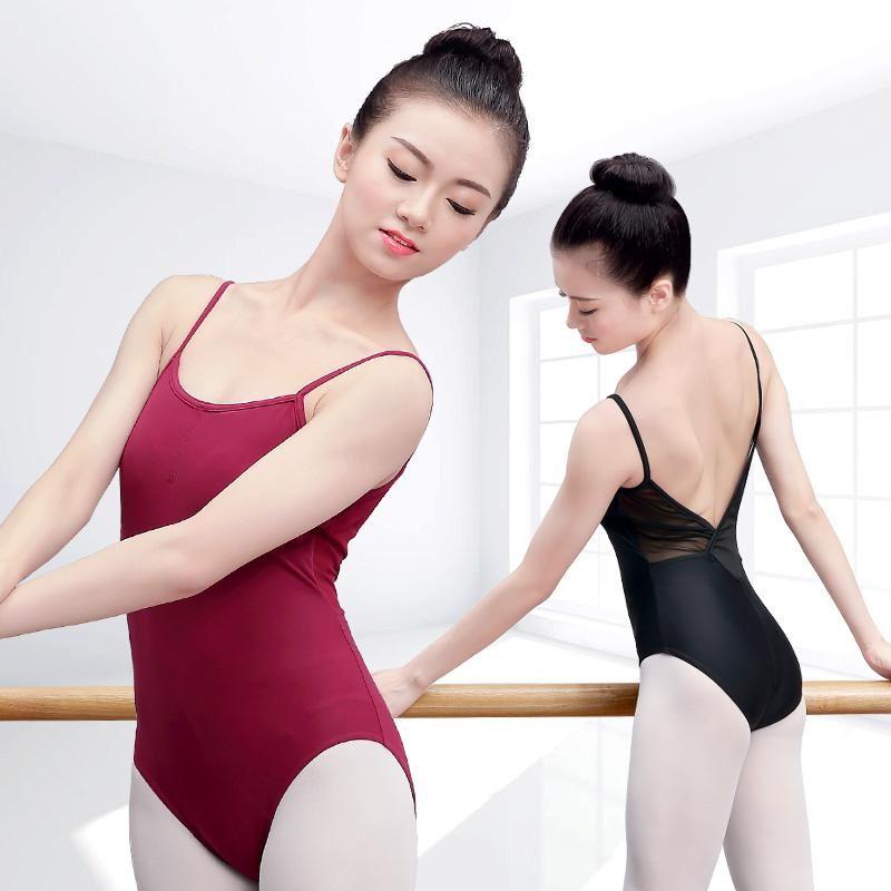20527f56d Women Straps Gymnastics Ballet Leotards Sexy Mesh Ballet Dance Wear ...