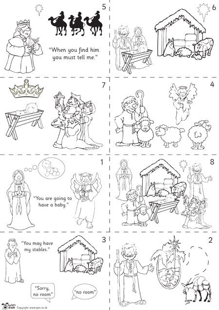 Teacher S Pet Nativity Story Sequencing Black White Free Classroom Display Resource E The Nativity Story Christmas Sunday School Sunday School Crafts