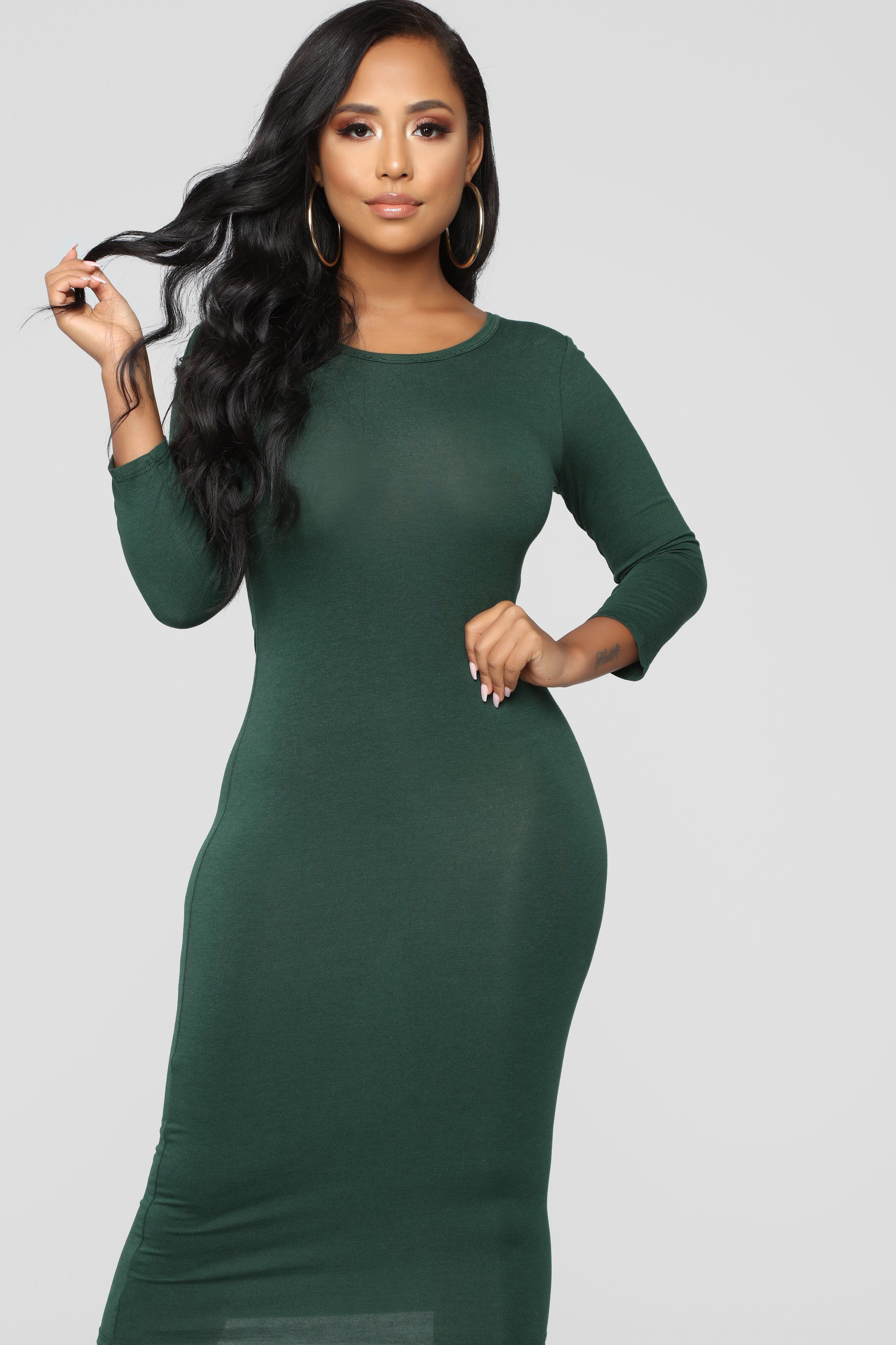 Full Coverage Maxi Dress Olive (With images) Simple