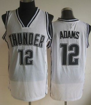 Oklahoma City Thunder  12 Steven Adams White With Black Swingman Jersey 69df62401