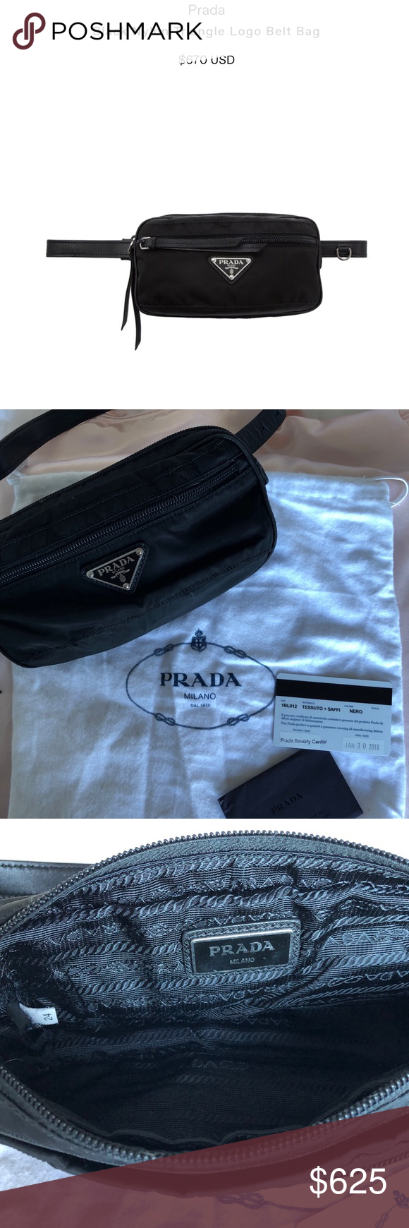 2b2ee09874902 Prada black triangle logo belt bag 🖤 Purchased at the Prada store in  Beverly Center.