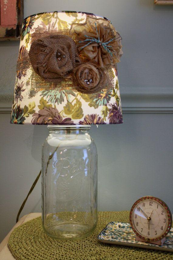 Embellished Purple And Aqua Lamp Shade By Anchorandlace On Etsy 32 00 Lamp Mason Jar Lamp Lamp Shade
