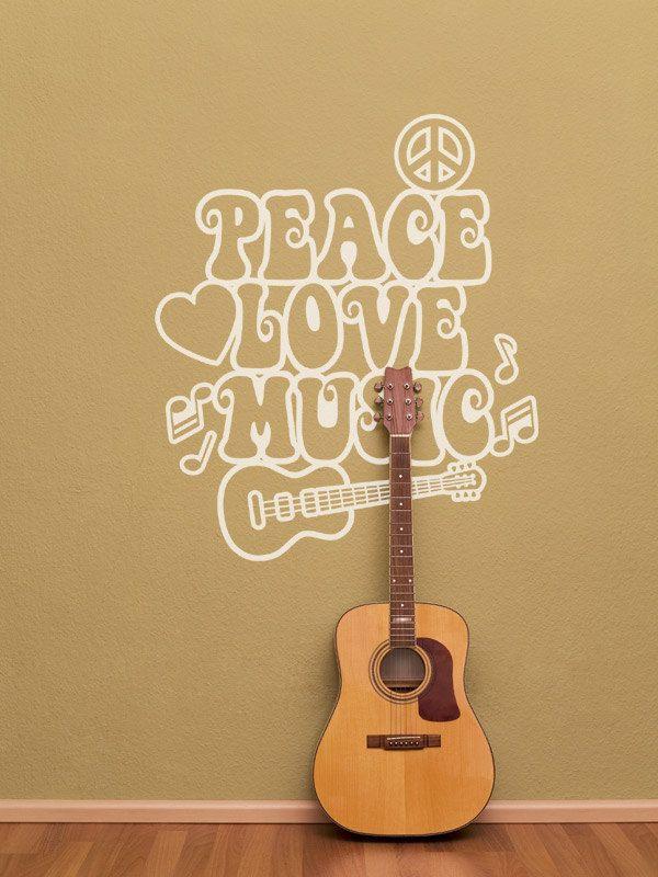 Peace Love Music Guitar Vinyl Wall