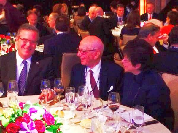 Globalist @Jeb Bush and Valerie Jarrett having dinner together.Rupert in middle. Megyn Kelly reports to man in middle.)Found on https://twitter.com/NtoAlaska Embedded image permalink