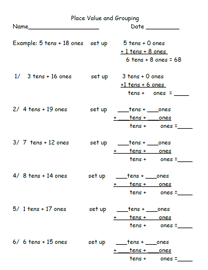 Place Value Grouping Worksheet For 2nd Grade There Are Two Pages Of