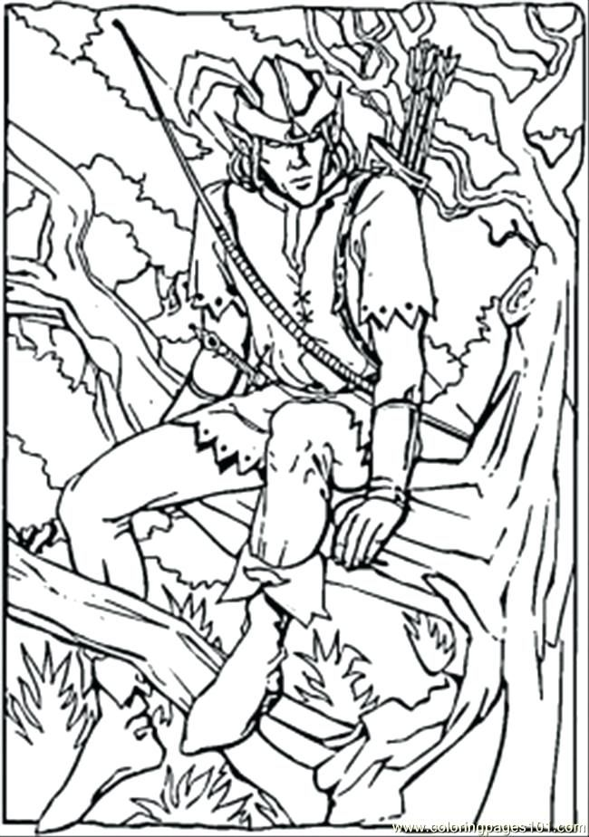 Robin Hood Colouring Pages Printable In The Forest