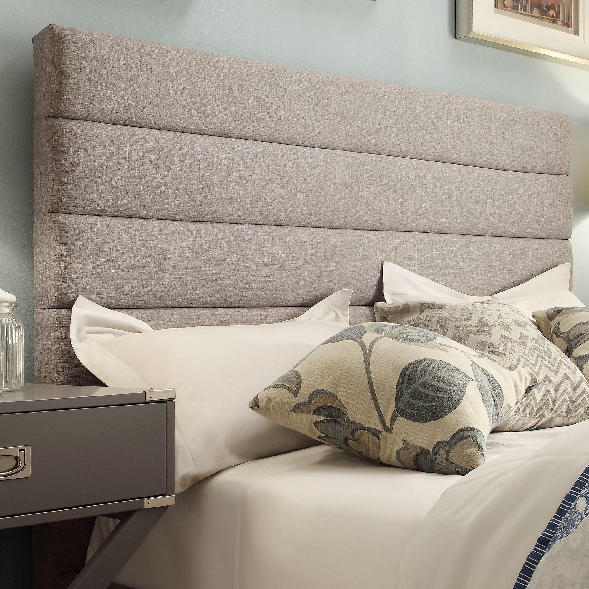 Corbett Horizontal Tufted Gray Linen Upholstered Headboard By