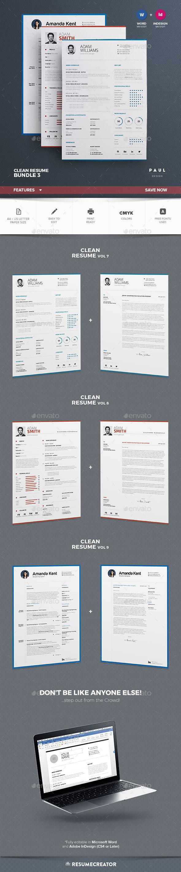 Clean resumecv bundle vol3 resume cv and cleaning clean resume cv bundle template indesign indd ms word download here https yelopaper Choice Image
