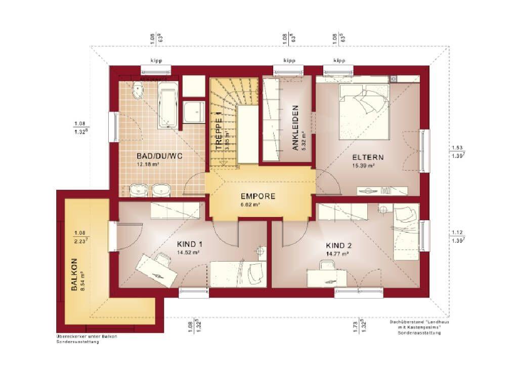 Stadtvilla Grundriss Obergeschoss mit Walmdach und Balkon - Haus ...