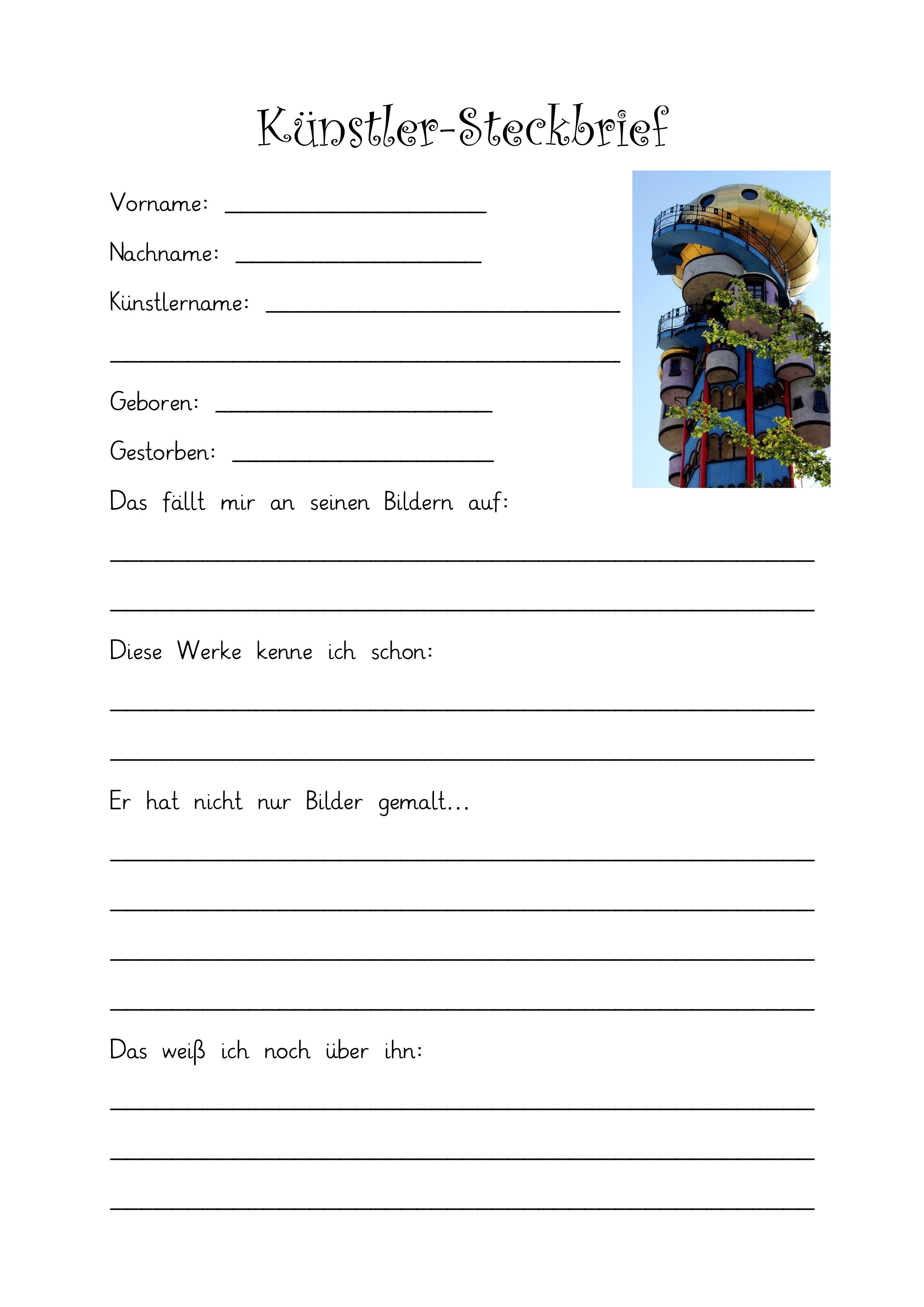 Kunstler Steckbrief Hundertwasser Unterrichtsmaterial Im Fach Kunst Hundertwasser Kunstler Grundschule Kunstler