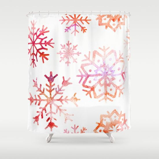 Red Watercolor Snowflakes Shower Curtain By Samantha Lynn