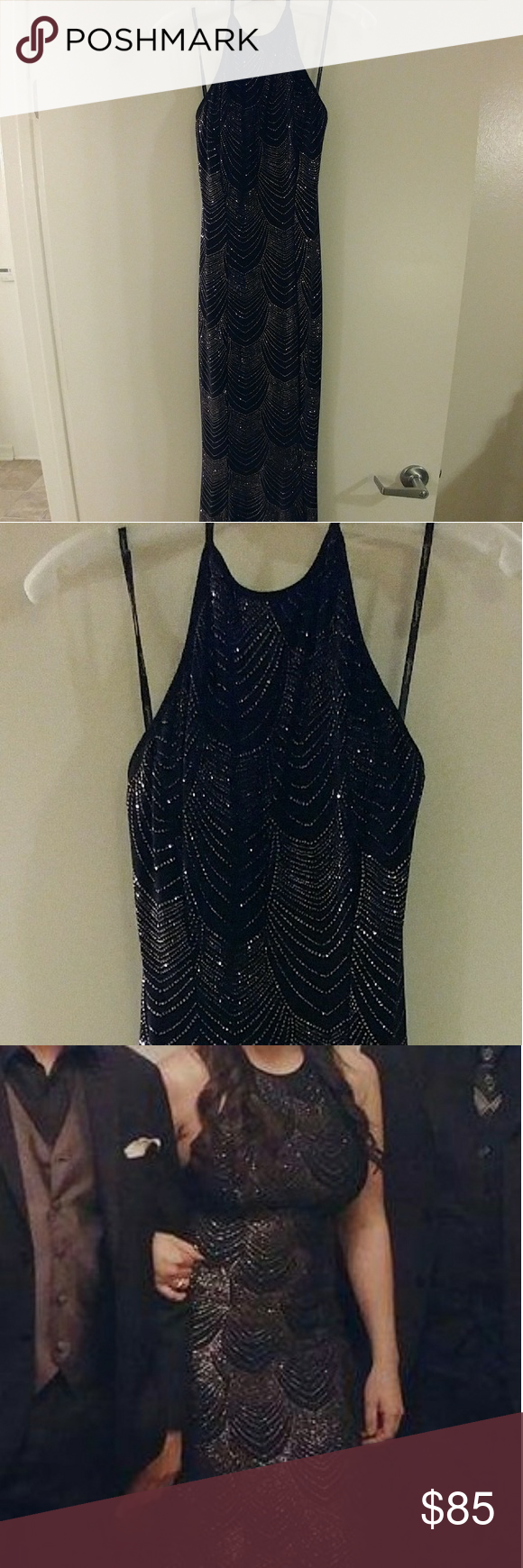 2b8272281fc6 Black and Gold Glitter Knit Halter Dress with Low Beautiful dress I wore  once as a