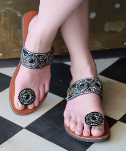 929e72195 Details about Paduka Sandals New Leather Womens Toe Post Shoes Flats ...