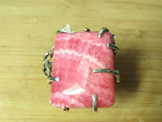 Rhodochrosite Vine Ring adjustable by CreativeEddy on Etsy, $122.00