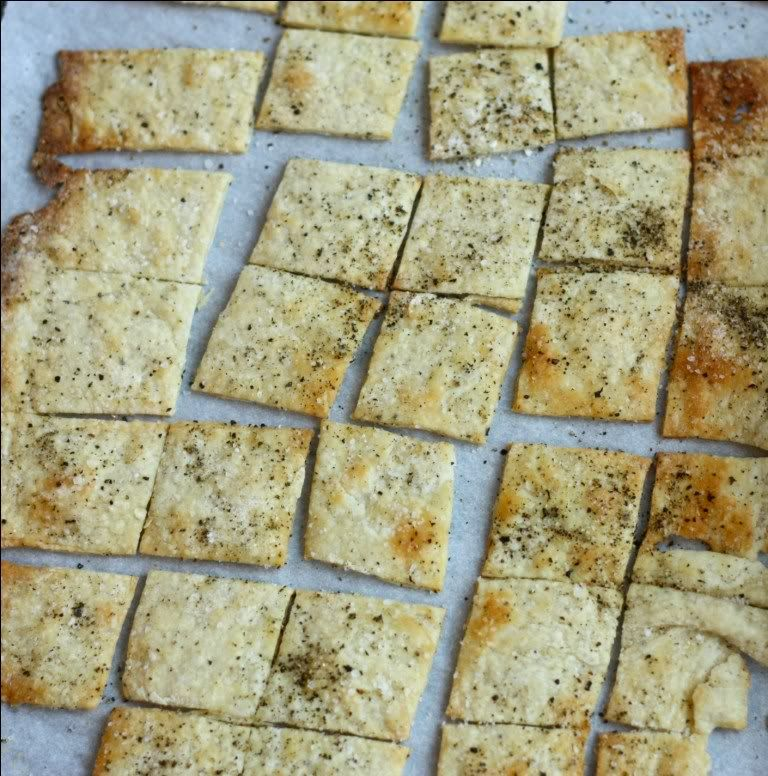 Mmmmmmmm....homemade crackers. They are just pure awesomeness.  I love everything about these crackers; the freshly cracked black pepper, sea salt, the crunch.  And they are really easy to make.  I...