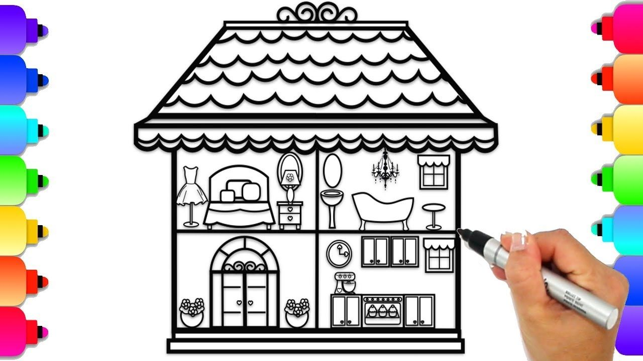 Glitter Doll House Coloring Page Learn To Draw And Color A Doll