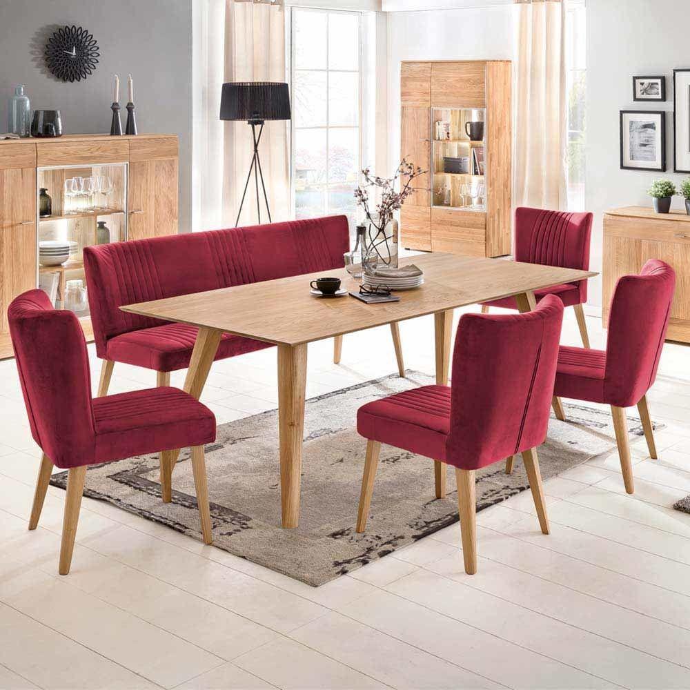 Esstisch mit Stühlen in Rot Stoff Eiche massiv Retro (6-teilig ...