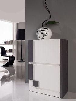 Meuble A Chaussures Moderne Celiane 2 Tiroirs Coloris Blanc Et Gris Cendre Meuble Chaussure Celiane Mobilier Design