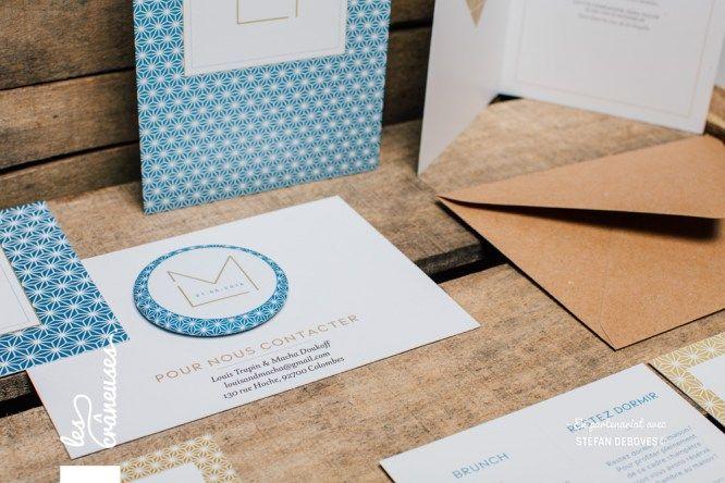 Faire part de mariage géométrique Bleu et doré Kraft Magnet