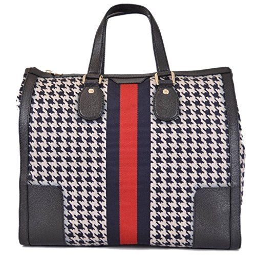 64a89501270 Gucci Women s 271624 Seventies Houndstooth Poule Web Stripe Purse ...