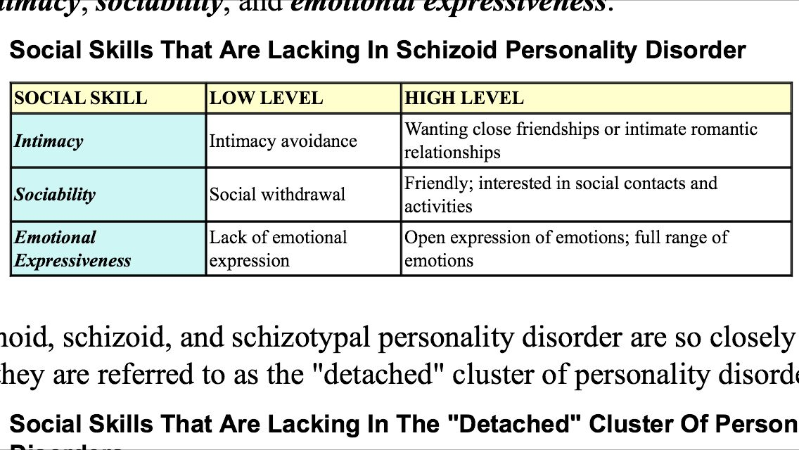 Social skills lacking in schizoid personality disorder!! | Therapy ...