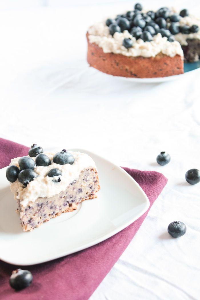 Zuckerfreies Backen - glutenfreier und veganer Heidelbeerkuchen   - gesunder Kuchen -