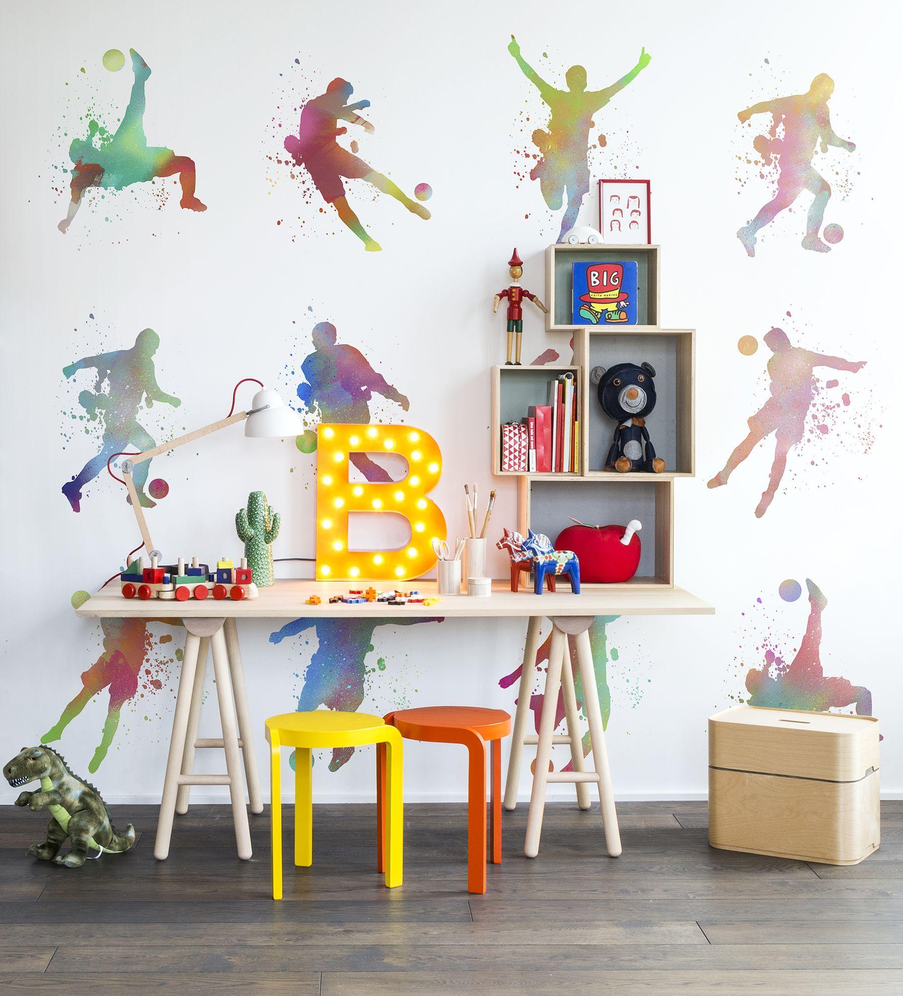 Kinderzimmer wanddekor footboll color  tapeten fürus kinderzimmer  pinterest