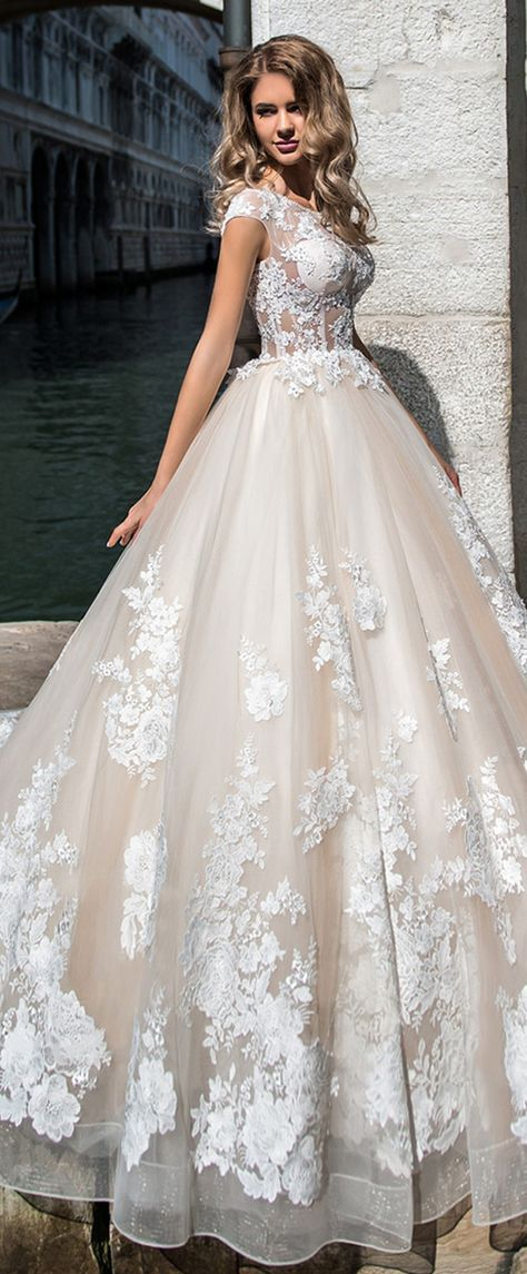 Junoesque Tulle Jewel Neckline See-through Bodice Ball Gown Wedding ...