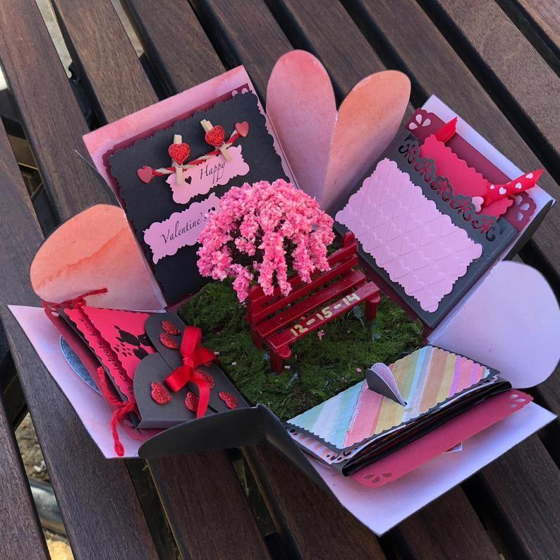 Gift for him, Valentines gift, exploding box valen