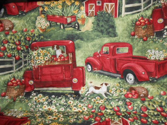 Fabric Vintage Red Truck Handmade Red