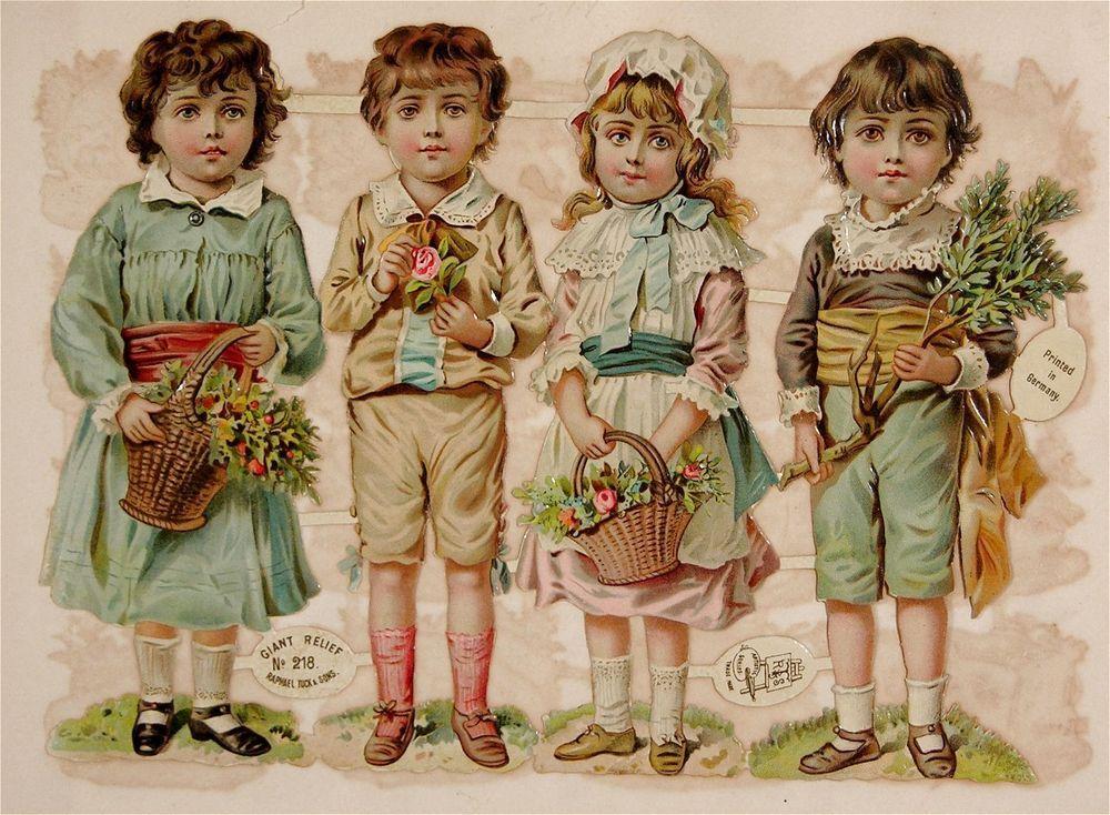 Victorian Embossed Die Cut Scrap Set Georgian Children Ladies Men