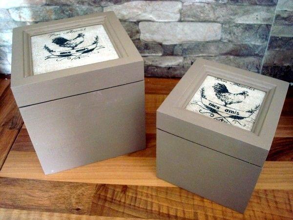 Duo de boîtes décor aux coqs