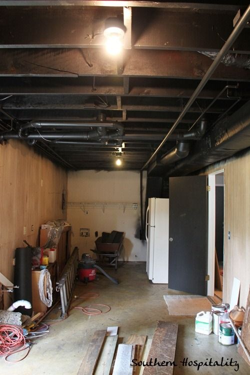 Painting An Industrial Ceiling Black Black Basement Ceiling Basement Ceiling Ideas Cheap Black Ceiling