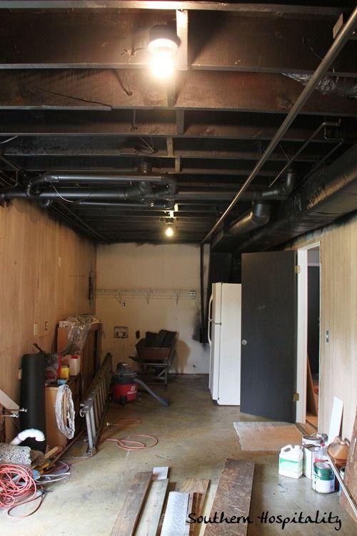 Painting An Industrial Ceiling Black Black Basement Ceiling
