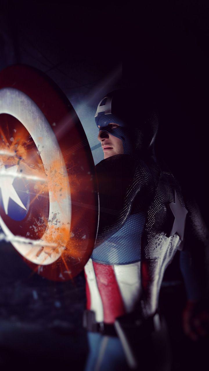 Captain America Shield The Winter Solider Artwork 720x1280