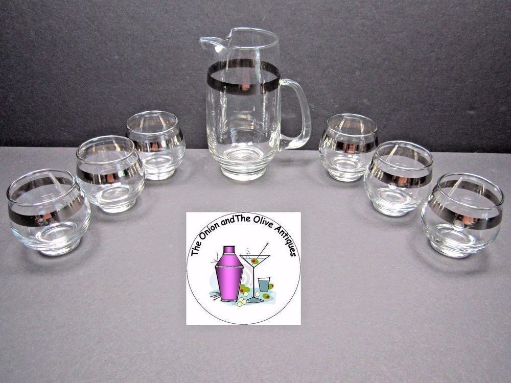 Libbey Juice Cocktail Silver Band Small Glass Pitcher Six Roly Poly Set
