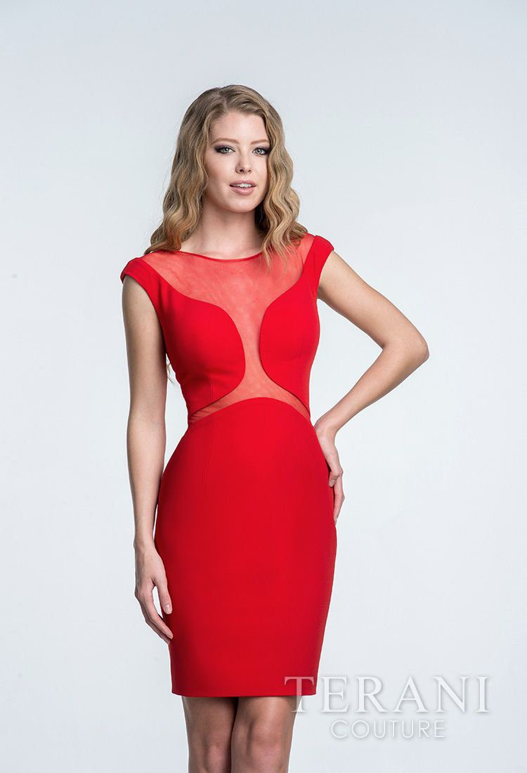 Fitted crepe cocktail dress with nude illusion uccut outsud at the