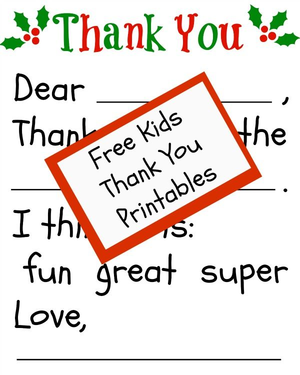 Free Childrenu0027s Thank You Printable-this is awesome for younger - how to write a thank you letter