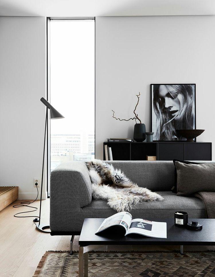 Minimal Black Living Room Decor Living Room Scandinavian