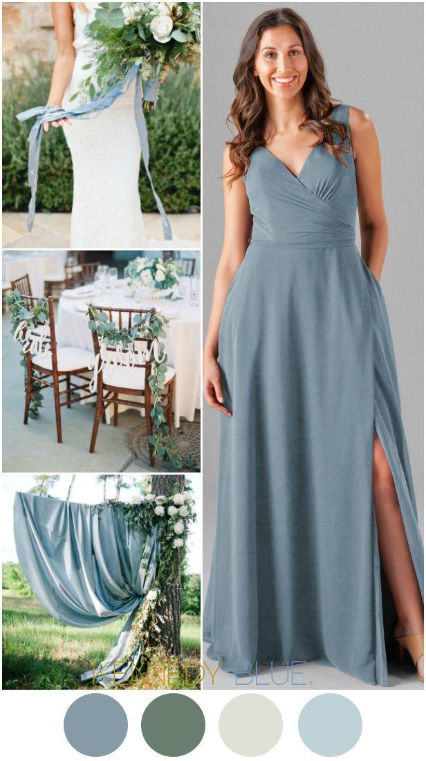 Pearl In 2019 Slate Blue Bridesmaid Dresses Blue