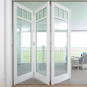 Marvin windows and doors half open white bifold door for Marvin bi fold doors