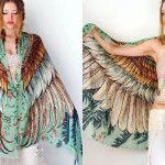 lenços simulam asas