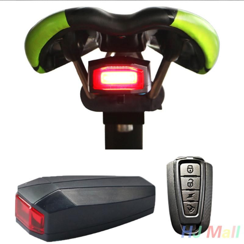 Bike Taillight LED Wireless Alarm Bell Anti-theft Remote Control Accessories
