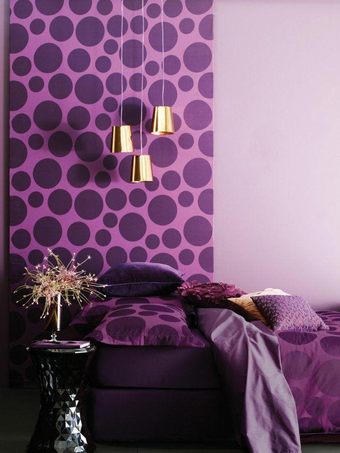 Deko Ideen Schlafzimmer Lila Akzente Punkte