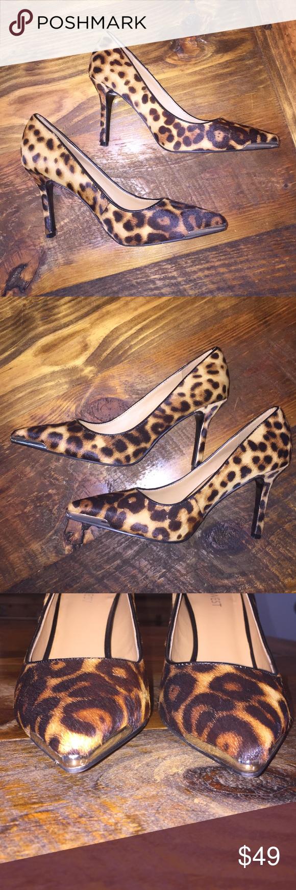 "Nine West leopard print pumps 7.5 Nine West leopard print pumps. Size 7.5. Worn one time. Metal pointed toe. Heel height is 3.75"". Nine West Shoes Heels"