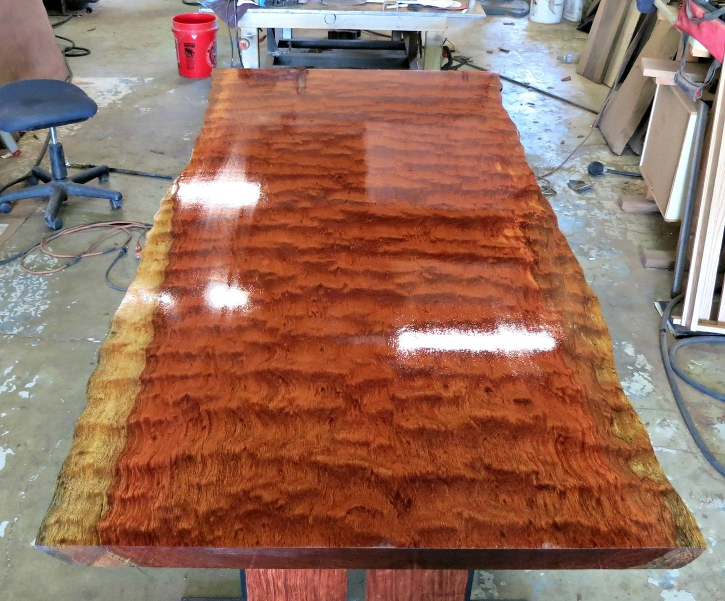 Custom made live edge bubinga dining table tables for Unique wood dining room tables
