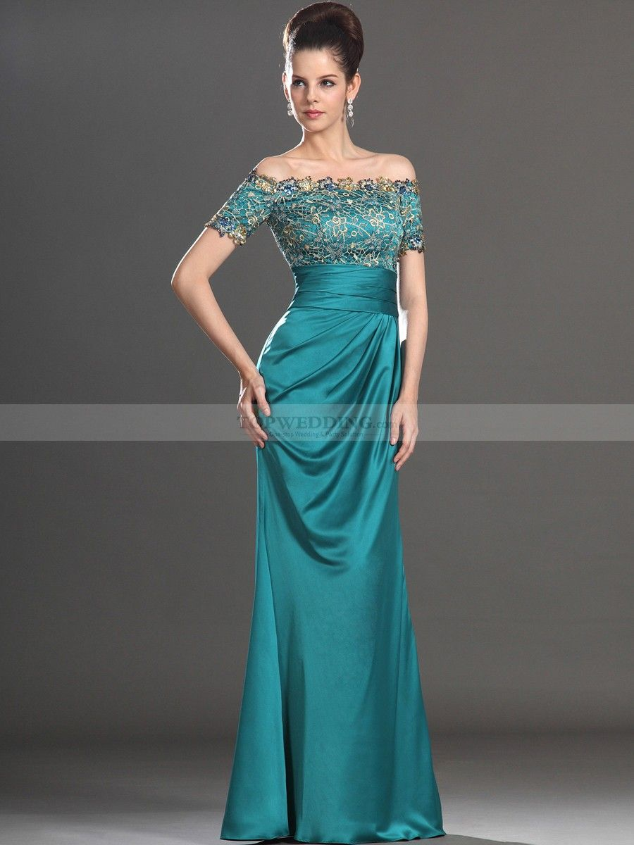 Off the Shoulder Lace Bodice Long Satin Evening Dress | Lace bodice ...