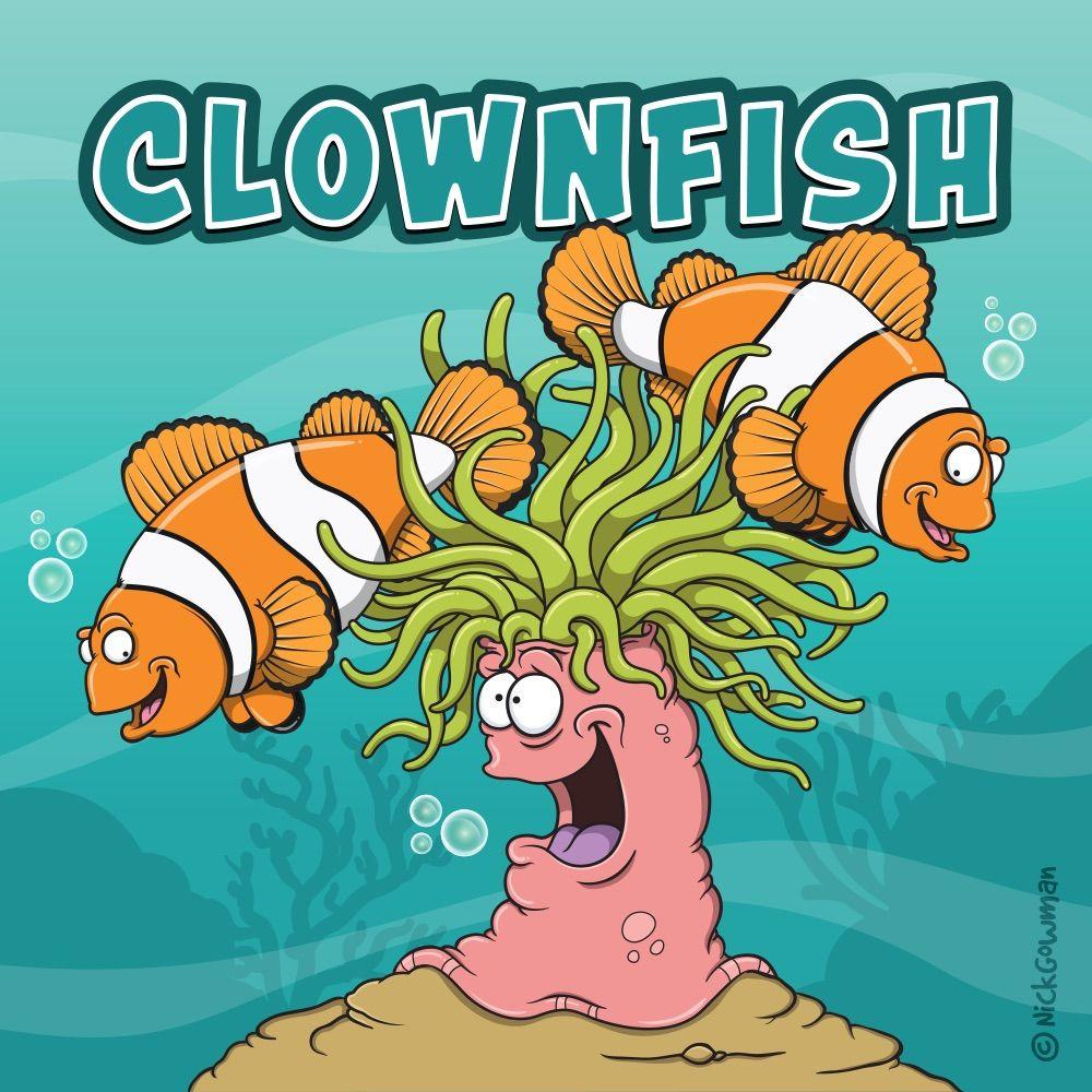 Two Playful Cartoon Clownfish Swimming In An Anemone Clownfish