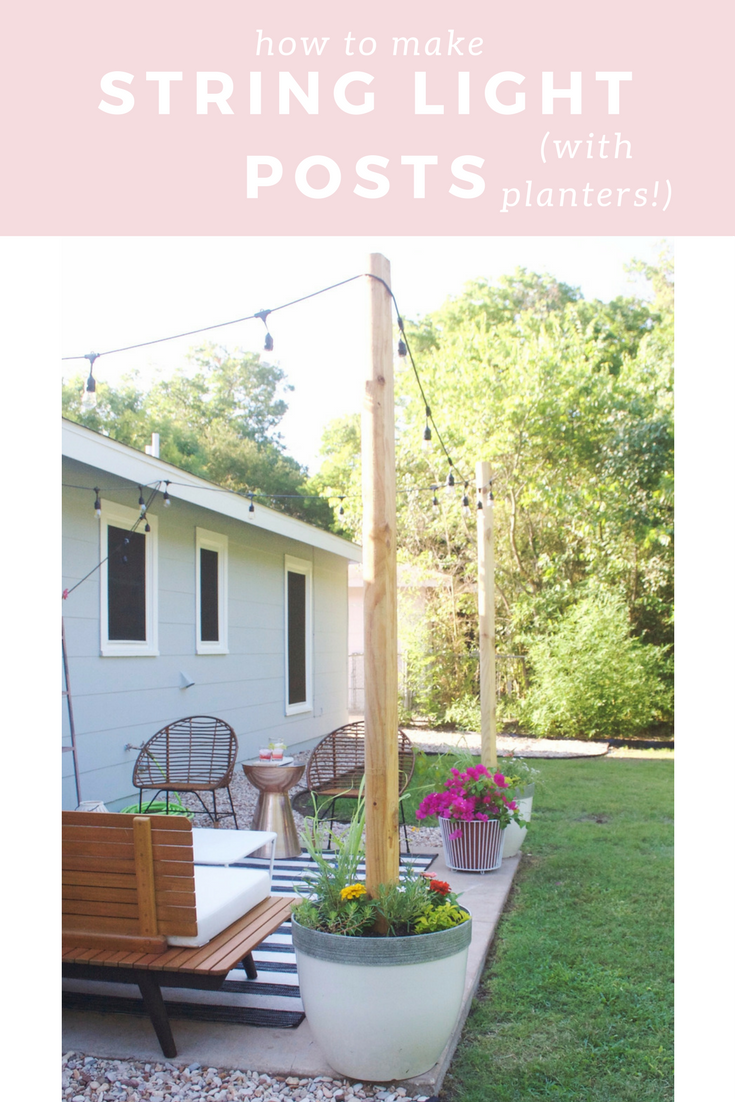 String Light Posts A Post On Posts  Planters Lights And Backyard