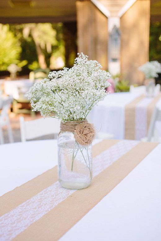 Love This Baby Breath And Burlap Flower Mason Jar Center Piece More Design Ideas 50 Chic Rustic Lace Wedding